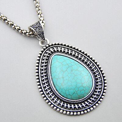 Tibetan Turquoise Drop Shape Pendant Long Necklace XL210