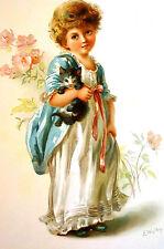 Ellen Welby 1894 CHILD NIGHT DRESS CAT Antique Chromolithograph Lg Print Matted