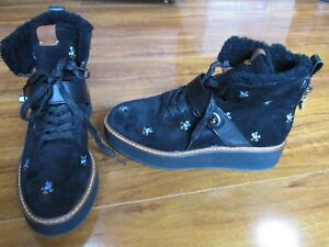 7c8e06ea671 Details about NEW COACH Urban Hiker Black Suede Embroidered Boots WOMENS Sz  8.5 Shearling $350
