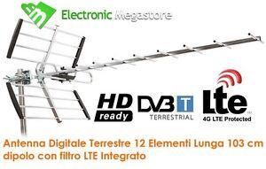 ANTENNA TV DIGITALE TERRESTRE 10 ELEMENTI UHF 21 - 60 LTE FREE 4G HD DVB-T2 DVBT