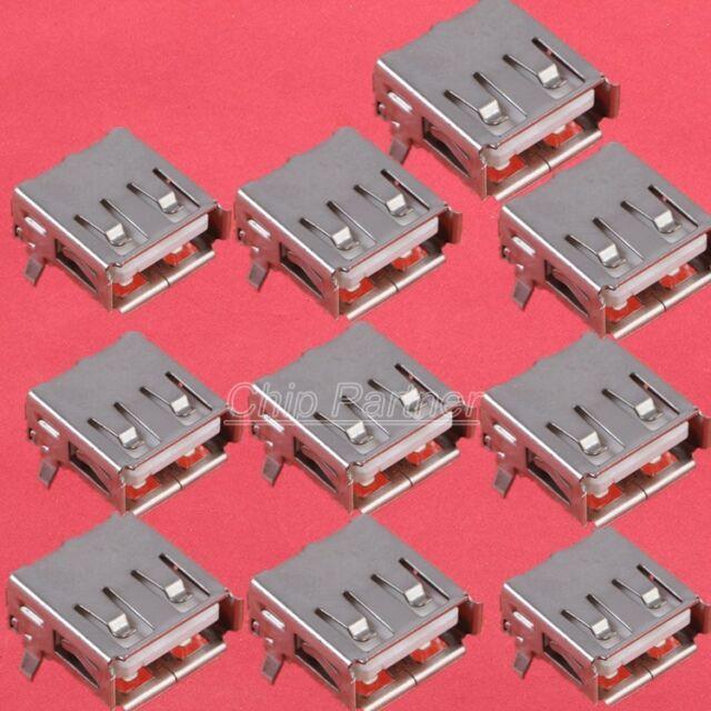 10PCS USB short Female Type  PCB Socket A female socket Connector