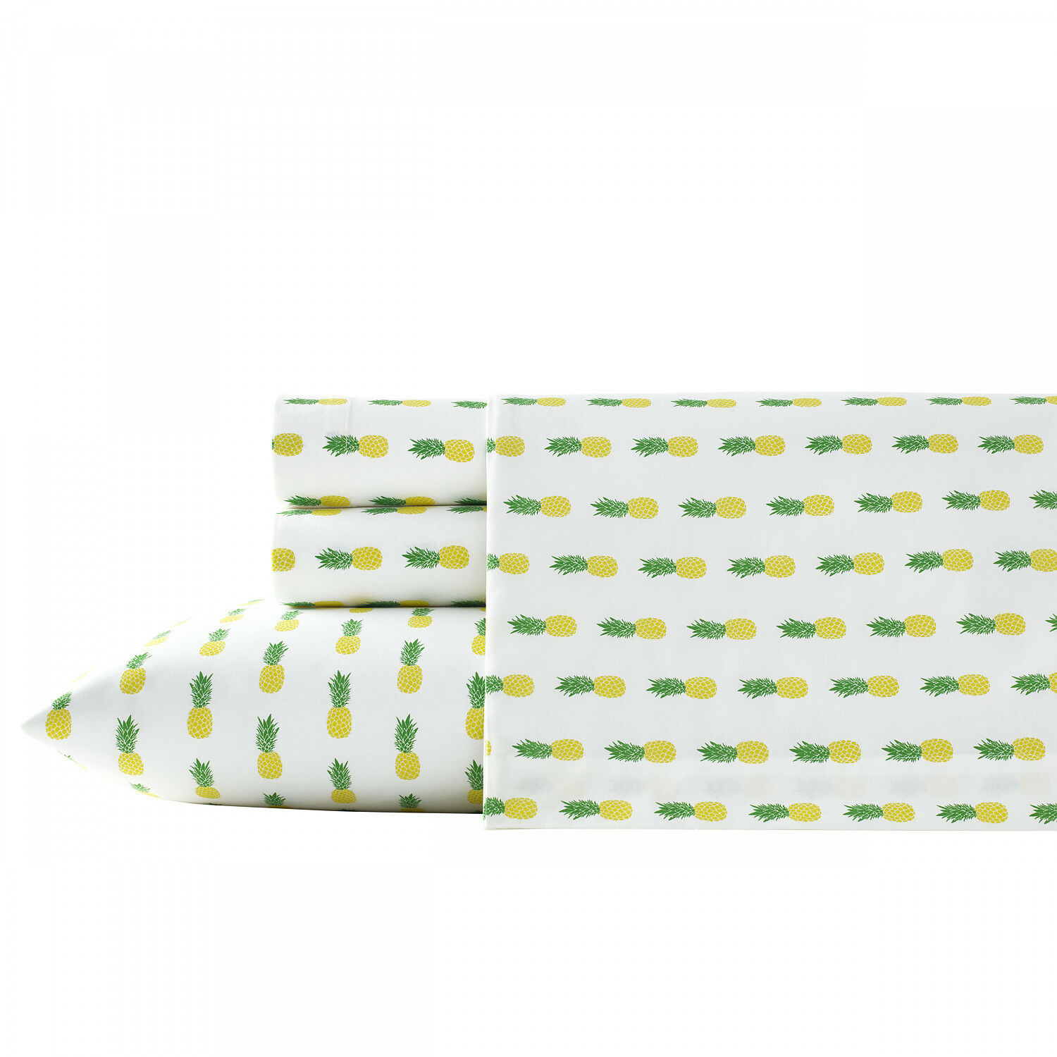 Poppy & Fritz Pineapples 4-Pc Sheet Set, T200 Percale Cotton, Soft
