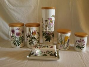 Portmeirion Botanic Garden Set Of 5 Canisters Wooden