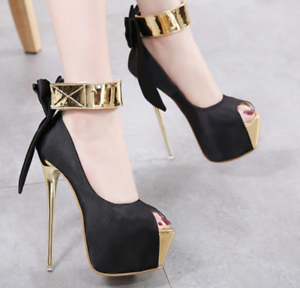 ea505f147f3c Details about Women s Super High heels Stilettos Platform Ankle Strap  Bowknot Shoes Sandals hm