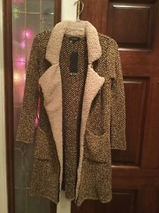 7182ee62c NWT Olyss Long Sweater Coat Jacket Brown Tan Tweed Size Small Soft ...