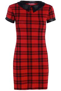 Women-Ladies-Red-Tartan-PVC-Peter-Pan-Collar-Cap-Sleeve-Bodycon-Tunic-Dress-8-18