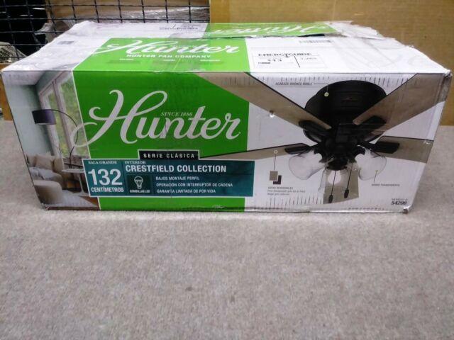 HUNTER 52 in Crestfield Indoor Ceiling Fan w LED Light Noble Bronze 54208