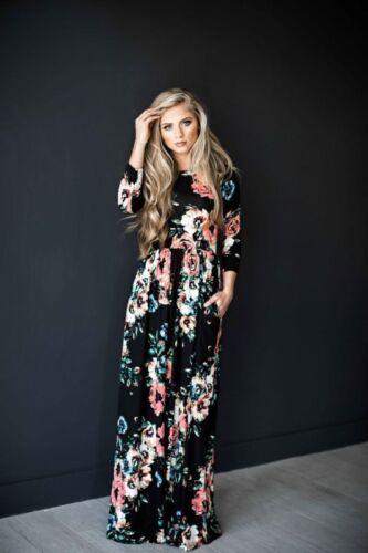 DE Damen Blumen Langsleeve Slim Maxikleid Hohe Taille LangKleid Freizeitkleid