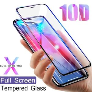 10D Glas für iPhone X Xr Xs MAX 11 Pro Max Panzerfolie Schutzfolie Hartglas 9H