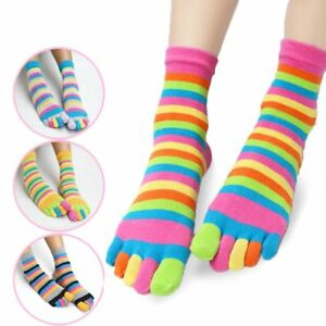 Women-Cotton-Toe-Socks-Striped-Rainbow-Patchwork-Female-Girls-Five-Finger-Socks