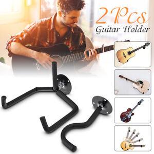 2x horizontal separated guitar wall mount hanger stand holder hook display bass 634383429464 ebay. Black Bedroom Furniture Sets. Home Design Ideas