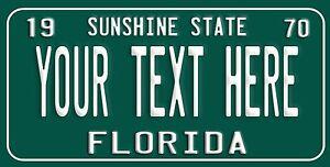 Custom Retro Vintage FLORIDA License Plate Personalize You Pick text