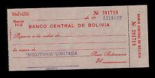 BOLIVIA CHECK BANCO CENTRAL DE BOLIVIA SERIE H3  PICK NL UNCIRCULATED.