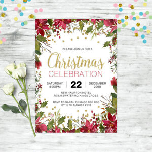 Details about CHRISTMAS INVITATION PERSONALISED PARTY SUPPLIES FLORAL  INVITE XMAS GOLD