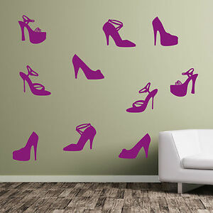 Image is loading Shoes-Ladies-Girl-Girls-Lady-Shoe-Wall-Art- & Shoes Ladies Girl Girls Lady Shoe Wall Art Stickers Decals High ...