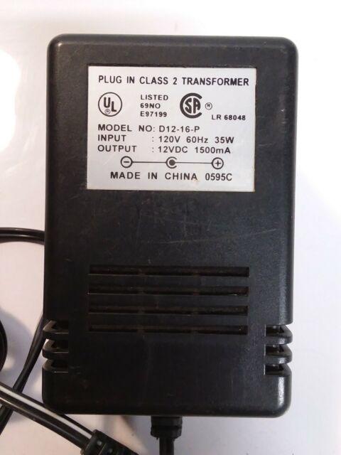DIRECT PLUG-IN CLASS 2 TRANSFORMER I-120V 60HZ O-12VAC