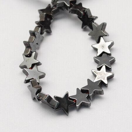 2675 30 Hématite Perles perles étoile 11x11mm synthétique hématite noir