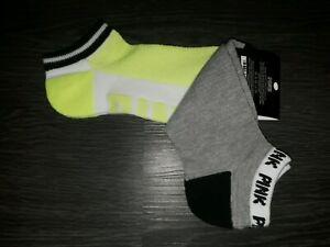 VS PINK 2pk ankle Socks BRAND NEW neon yellow logo//camo