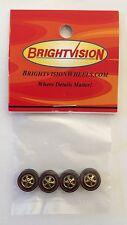 4 Brightvision Redline Wheels – 4 Medium GOLD Chrome Cap Style Wheels Goldlines!