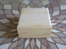 LOT of (5) Unfinished Wooden Mini trinket Box With Hinged Lid & Magnetic Closure