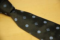 Brooks Brothers Makers & Merchants Woven Brown Silk Blue Floral Neat Tie