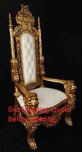 Merveilleux Image Is Loading Carved Mahogany King Lion Gothic Throne Chair Gold