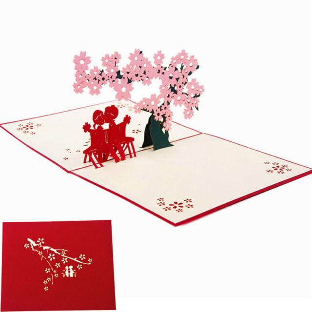 3d Pop Up Greeting Cards Cherry Lover Valentine Birthday