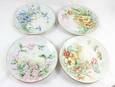 SET 4 SPECIAL ARTIST HAND PAINTED DISPLAY PLATES FLOWERS  GOLD BAVARIA