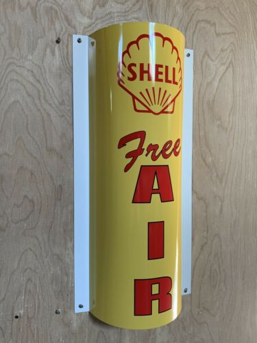 Shell Free Air Curved Metal  Gasoline Gas sign Pump Oil WOW!!!