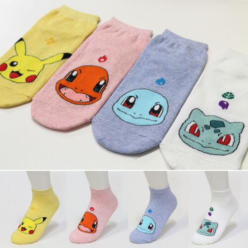 4 Pairs Pokemon Friends Cartoon Socks Women Big Kids New Pikachu Character Socks
