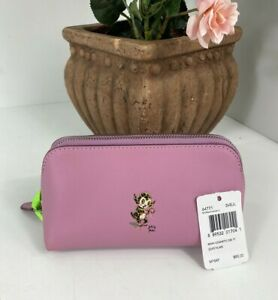 New-Coach-Baseman-Cosmetic-Case-17-Soft-Leather-Marshmellow-Zip-64771-M2