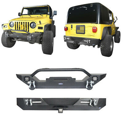 Hooke Road Jeep Wrangler TJ Bumper Combo Front Rear Bumpers with D-Rings /& Receiver Hitches for 1997-2006 Jeep Wrangler TJ