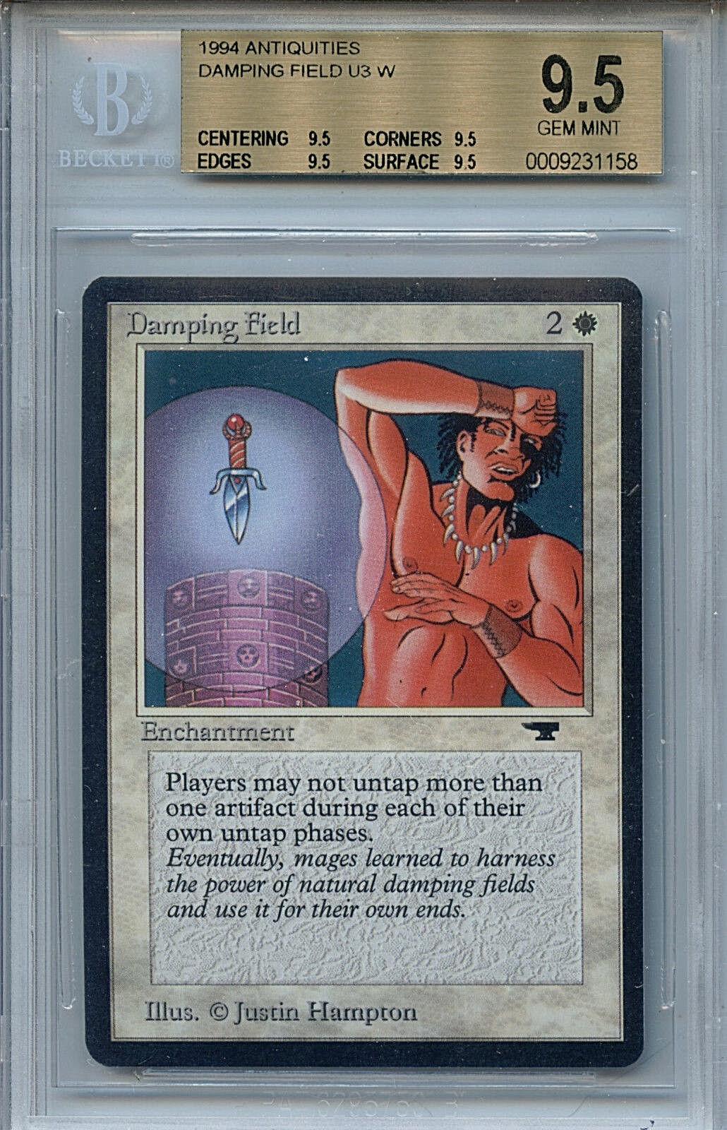 MTG Antiquities Damping Field BGS 9.5 Gem Mint card True Quad 4 X 9.5 1158