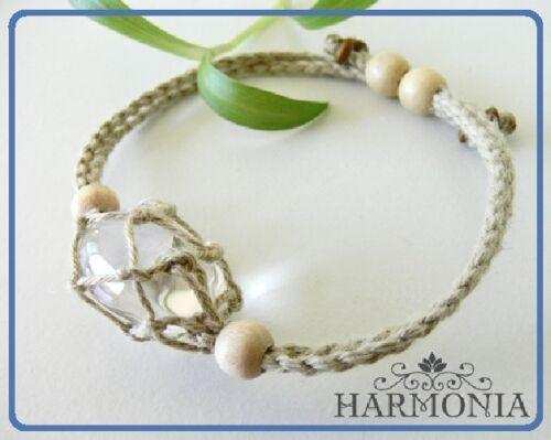 Natural /& 1 Tumble Stone Interchangeable Hand Made Hemp Macrame Pouch Bracelet