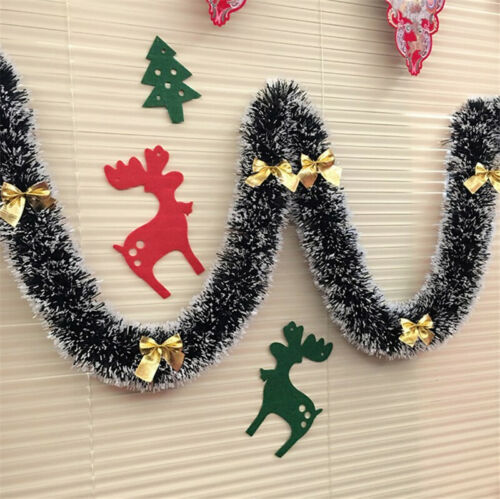 2M Christmas Tinsel Garland With Bow Luscious Xmas Snow Tips Holly Dark Green
