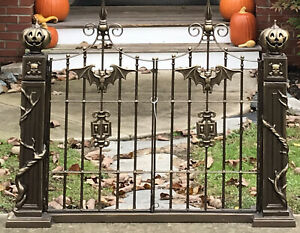 Cast-Iron-Metal-Cemetary-Graveyard-Gate-Halloween-Decoration-Prop-36x46-Heavy