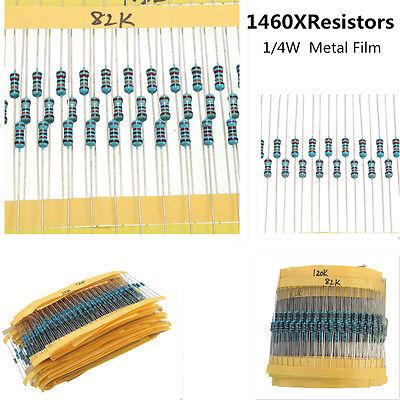 1460Pcs 73 Values Metal Film Resistor Kit Pack Mix Assortment 1/4W ±1% 1R to 1M