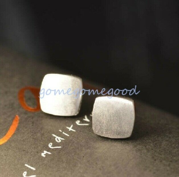 925 Sterling Silver - Simple Brushed Matte Square Stud Mini Lady Party Earrings