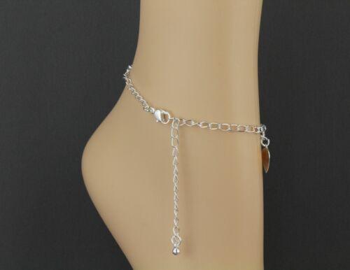 silver heart anklet charm dangle pendant adjustable ankle bracelet dangly