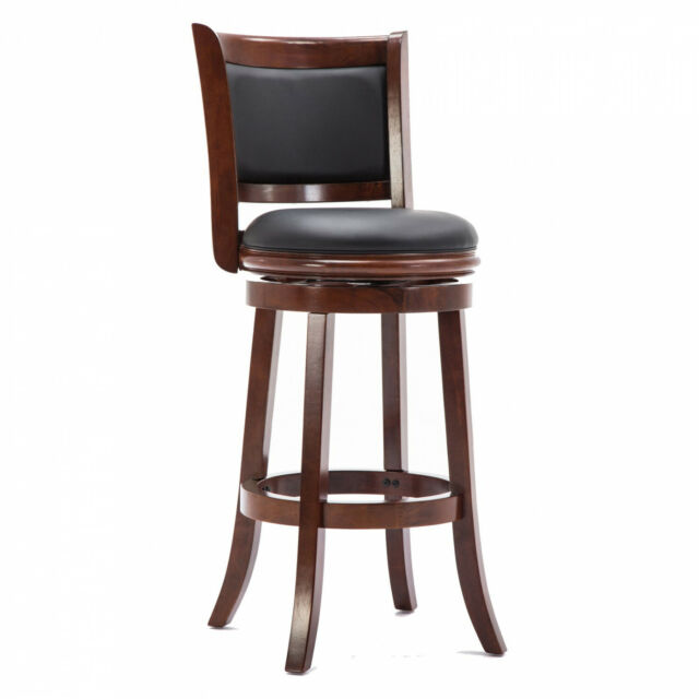Enjoyable Boraam 49829 Augusta 29In Leather Cherry Wood Swivel Bar Stool Brown Black Squirreltailoven Fun Painted Chair Ideas Images Squirreltailovenorg