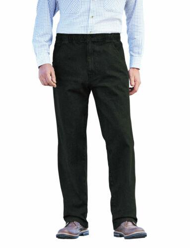 Mens Elasticated Jeans Drawcord Black Denim Stetch Waist Trouser Pants