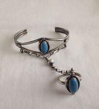 "Vintage Sterling Silver Turquoise Navajo Slave Cuff Bracelet 5"" Ring size 9.25"""