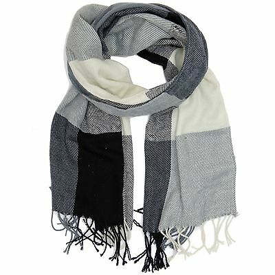 Bucasi White and Gray Colorblock Checkered Scarf with Fringe