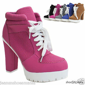 New Women Almond Toe Lace Up Lug Sole Platform High Chunky Heel ...
