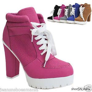 New Women Almond Toe Lace Up Lug Sole Platform High Chunky Heel ...