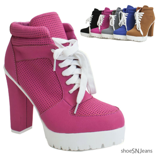 New Women Almond Toe Lace Up Lug Sole Platform High Chunky Heel Bootie Sneakers