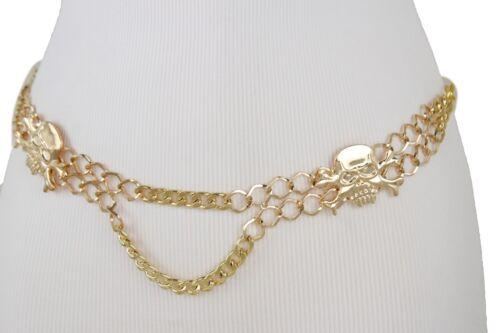 Women Gold Metal Chain Skull Charms Skeleton Fashion Belt Pirate Buckle XS S M