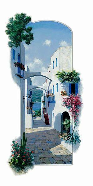 Peter Motz  Greek Arch Keilrahmen-Bild Leinwand Griechenland mediterran