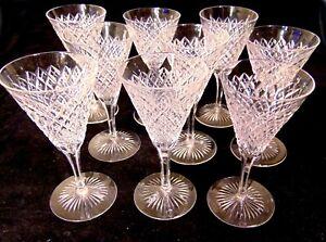 9-ABP-Cut-GLASS-CRYSTAL-Strawberry-Diamond-Cordial-Wine-Stem-Glasses