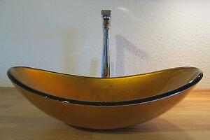 Aufsatz Glas Waschbecken Waschschale Gold Oval Bad Waschtisch